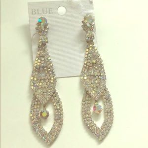 Gorgeous Chandelier Rhinestones Silver Earrings